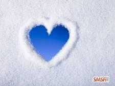 Blue Heart In Snow Winter